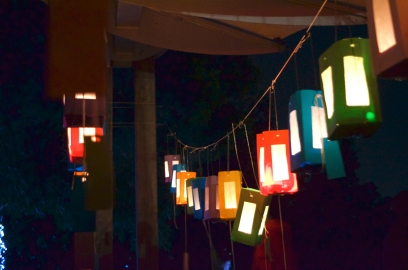 Paper lanterns hung across the friends picnic shelter